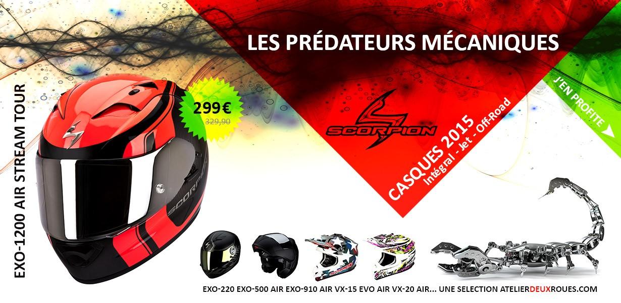 Une sélection des meilleurs casques Scorpion sur atelierdeuxroues.com